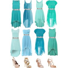 missmatched bridesmaid dresses. different shades of the same color family and matching belts to tie them all together!