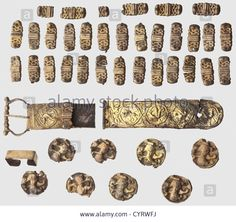 German Silver Gilt Belt Fittings, 12th Century. Consisting Of A Stock Photo, Picture And Royalty Free Image. Pic. 51541382