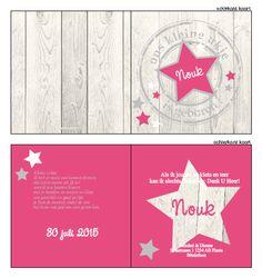 Geboortekaartje -Stoer geboortekaartjes, voor een meisje met hout en een stempel. ! Ontwerp dit kaartje zelf, met onze ontwerptool. www.geboortekaartjesdrukkerij.nl