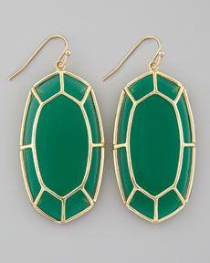 Y1A4M Kendra Scott Framed Cabochon Earrings, Green Onyx
