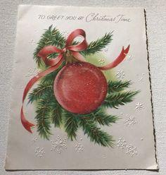 Vintage christmas card american greetings 25x 18 10 dad pine vintage american greeting christmas card with red christmas ornament glitter ebay m4hsunfo