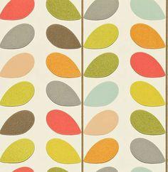 """Vit botten med raka bladrankor i grönt, rött, turkos, brunt, grått och orange""""Multi Stem"""""""