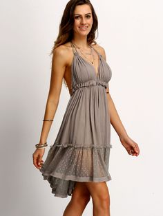 067474e5deccdd Coffee Halter Neck Lace Ruffled Hem Dress EmmaCloth-Women Fast Fashion  Online