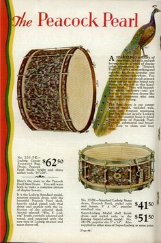 Catalogue page - Ludwig Peacock Pearl centre support bass drum and standard snare