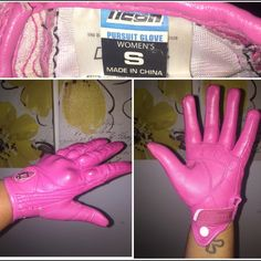 Icon Motorcycle Gloves I also have a pair of PINK leather Icon motorcycle gloves that match the helmet (Size: SMALL). Great condition. No rips/holes, velcro closure and snap button to snap gloves together when they are not being worn $50 Will sell separately or as a set. Prices listed are for individual sell. Set includes: helmet (with backpack) & gloves for $200 ICON Other