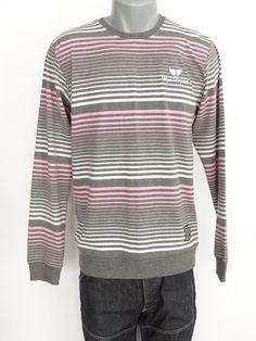 Bagarda Original Men's Sweater Grey Pink Stripes Long Sleeve Size 46 / XL New
