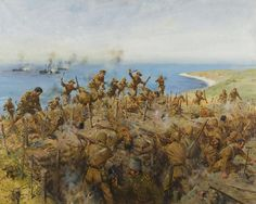 """Sari Bair"" by Terence Cuneo. The 6th Gurkha Rifles attack the Turks during the Gallipoli campaign, August 9, 1916."