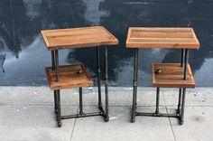 Industrial Wood & Steel Side Tables // Reclaimed Wood by weareMFEO, $345.00