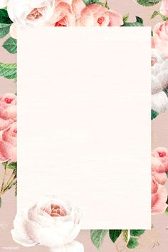 Blank floral rectangle frame vector   premium image by rawpixel.com / Chayanit Pink And White Background, Textured Background, Background Ppt, Rose Frame, Flower Frame, Free Hand Drawing, Free Illustrations, Flower Illustrations, Collage Design