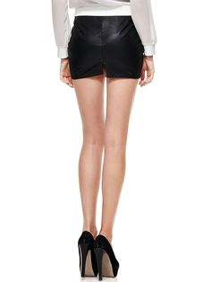 Choies Women's Black PU Back Slit Pencil Mini Skirt XL at Amazon Women's Clothing store:
