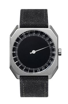 slow Jo 14 - Swiss Made one-hand 24 hour watch - Silver with anthracite canvas band ** Visit the image link more details.
