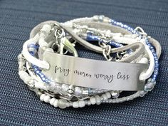 """LEATHER WRAP Stamped Bracelet """"Pray More Worry Less"""" Beaded Layer Bracelet Leather Multi Wrap Bracelet Leather Motivational Wrap Bracelet"""