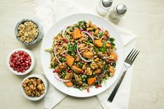 Fall flavors like sweet potatoes, cinnamon and sorghum syrup combine nicely with whole grain sorghum and tart pomegranates in this harvest salad. Sorghum Syrup, Sorghum Flour, Healthy Eats, Healthy Recipes, Japanese Sweet Potato, Harvest Salad, Pomegranate Salad, Candied Walnuts, Homemade Dressing