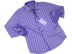 Boy's Sport Shirt 20291 Navy #boyssuits #heritagehouse #goodvibes #robertgraham #Blue #Navy #White #Stripes #contrastcuff