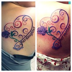 Mother/Daughter tattoos  They are actually the same colors, the lighting is just different.
