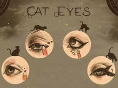 1930s cat eyes how to.  A clever technique of placing a dot at the corner of…