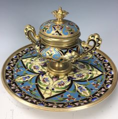 19TH CENTURY CHAMPLEVE ENAMEL INKWELL : Lot 0068