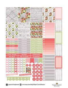 ROSE GARDEN Weekly Planner Sticker Kit/Printable Planner