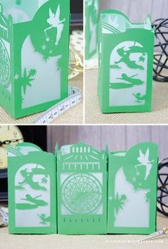 Peter Pan Paper Lantern - Designs By Miss Mandee. You can fly! These die cut, Peter Pan lanterns are four panels of absolute exquisiteness. Download the svg cut file for FREE and make them for your next Disney-themed party!