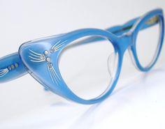 Vintage Blue 50s Cat Eye Glasses Sunglasses Eyewear Frame France