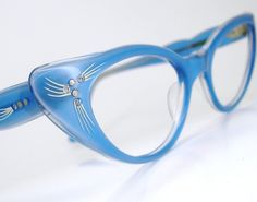 Vintage Blue 50s Cat Eye Glasses Sunglasses Eyewear Frame France