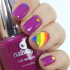 Magenta Rainbow - Leonie's Nailart