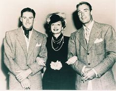 Hedda Hopper, with Errol Flynn (left) and Randolph Scott (right). It couldn't get more dashing than these two!