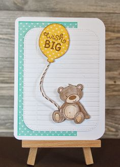 maikreations: Wish big (bear) Birthday card using some Lawn Fawn paper and this cute baer from Hobbycraft