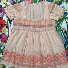 Anthropologie Floreat top Peach embroidered Anthropologie Tops