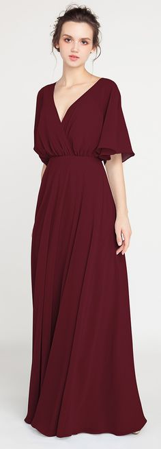 burgundy v neck bridesmaid dresses with sleeves #bridalparty #bridesmaiddress #burgundywedding