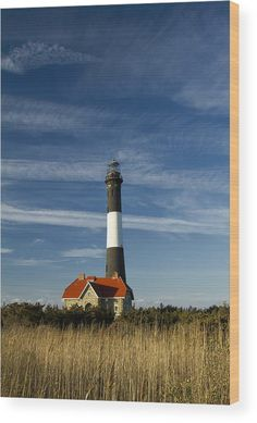 Fire Island Lighthouse II Wood Print by Bob Retnauer.  All wood prints are professionally printed, packaged, and shipped within 3 - 4 business days and delivered ready-to-hang on your wall. Choose from multiple sizes and mounting options.