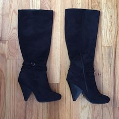 """Faux Suede Knee-hi Boots 3-1/4"""" heel height • 7 """" opening •  13"""" from braided belt detail to top of shaft • (I am 5' 1"""" and the boot falls slightly below my knee) • zipper at inside of boot • fits 1/2 size small • worn a few times Shoes Heeled Boots"""