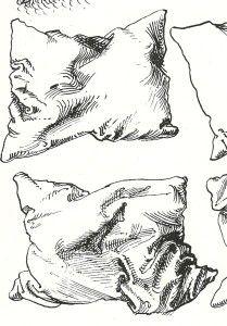 Durer pen drawing of pillows detail. Great website explaining cross hatching…