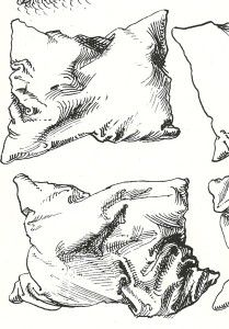 Durer pen drawing of pillows detail. Great website explaining cross hatching technique