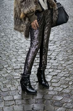 How to Chic: SEQUIN PANTS AND FUR
