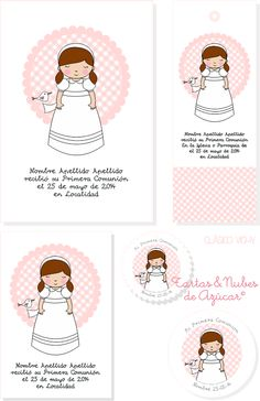 tyna party: Recordatorios Primera Comunión para niñas Doll Patterns, Teddy Bear, Activities, Dolls, Kids, Baby, Crafts, Cookies, First Holy Communion