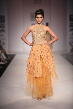 Gold and yellow Dress  #wifw #ss14 #fdci #fashion #trends #infashion #fashionweek #dress #gold #orange #net
