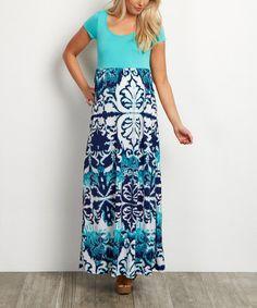 Look what I found on #zulily! PinkBlush Mint Green Damask Maternity Maxi Dress #zulilyfinds