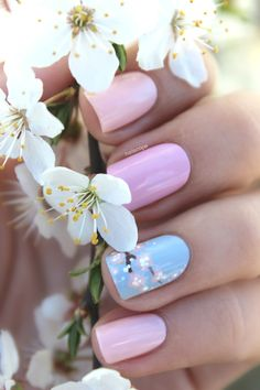 Cherry blossom nails baby pink and blue flowers, nail art Spring Nail Art, Spring Nails, Summer Nails, Cute Nail Art, Cute Nails, Pretty Nails, Fancy Nails, Diy Nails, Gorgeous Nails