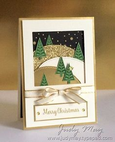 Cards: Christmas handmade Christmas card ... ivory and gold with black and green ... luv the die cut square framed scene with stitched circle die cuts forming hills ... lots of golds ... embossing, glitter paper, mat gold paper ... wonderful card ... Stampin' Up!