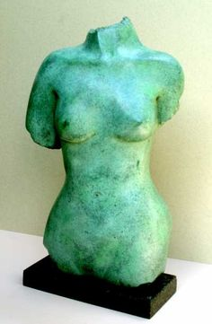 Bronze Sculptures of females by artist Ian Milner titled: 'Ovelia (Green bronze Girl nude Torso statuettes Figurine statue)' Green Man, Bronze Sculpture, Statues, Tabletop, Sculpting, Sculptures, Carving, Indoor, Nude
