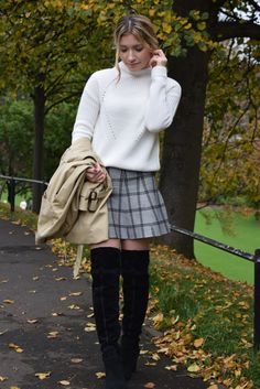 Thigh boots plaid pleated miniskirt sweater