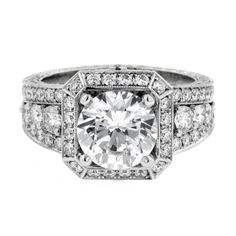 Jack Kelege ladies platinum diamond engagement ring KPR 345A.