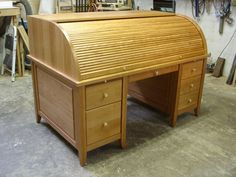 Handmade Cherry Rolltop Desk by Heirloom Custom Woodworks | CustomMade.com Front Closed