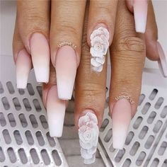 The process. Had to capture this set before encapsulating the roses and filing. The process. Bride Nails, Prom Nails, 3d Nails, Cute Nails, Pretty Nails, Pastel Nails, 3d Nail Art, Matte Stiletto Nails, 3d Acrylic Nails
