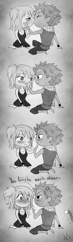 Kiss twice, not thrice by AnnMY.deviantart.com on @deviantART C: Nalu <3 -- Happy, the moment ruiner.