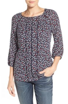Caslon® Print Drop Stitch Detail Peasant Blouse (Regular & Petite)