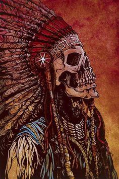 Spirit of a Nation by David Lozeau Tribal Canvas Art Giclee Print – moodswingsonthenet native wallpaper Fantasy Kunst, Fantasy Art, Los Muertos Tattoo, Native American Warrior, Native American Artwork, Skeleton Art, Skeleton Love, Arte Horror, Art Graphique