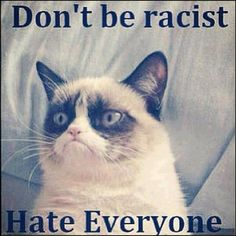 Don't be racist.  Hate everyone. - Grumpy cat