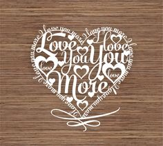 I love you more PDF SVG Instant Download Digital Papercut Template by ArtyCuts on Etsy